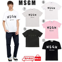 MSGM Crew Neck Plain Cotton Short Sleeves Crew Neck T-Shirts