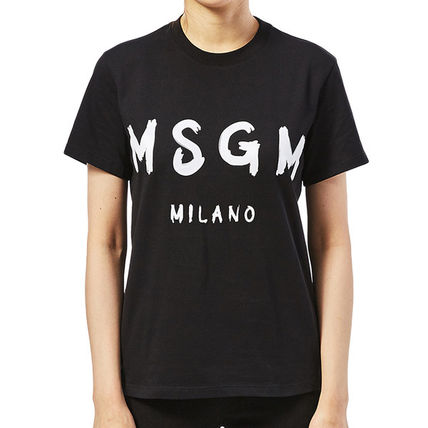 MSGM Crew Neck Crew Neck Plain Cotton Short Sleeves Crew Neck T-Shirts 14