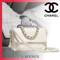CHANEL Calfskin 2WAY Chain Plain Elegant Style Shoulder Bags