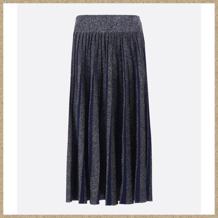 Wool Pleated Skirts Medium Midi Skirts