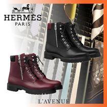 HERMES Plain Leather Engineer Boots