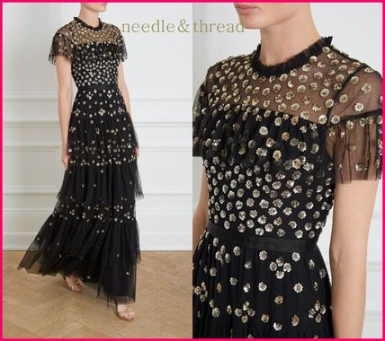 Flower Patterns Long Short Sleeves With Jewels Dresses