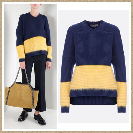 Crew Neck Wool Long Sleeves Plain Sweaters