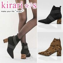 Leopard Patterns Casual Style Suede Blended Fabrics Plain