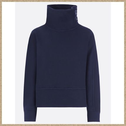 Long Sleeves Plain Cotton High-Neck Hoodies & Sweatshirts