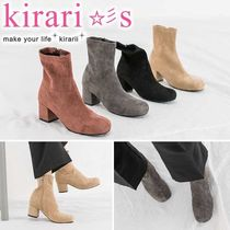 Square Toe Casual Style Suede Plain Chunky Heels