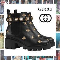 GUCCI Star Platform Plain Toe Blended Fabrics Plain Leather