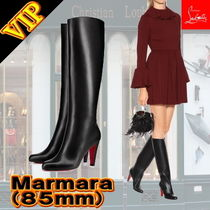 Christian Louboutin Bi-color Leather Elegant Style Over-the-Knee Boots