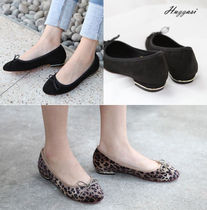 Leopard Patterns Platform Round Toe Casual Style Suede
