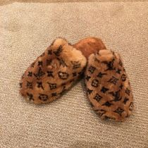 Louis Vuitton Monogram Plain Toe Fur Bi-color Elegant Style Slippers