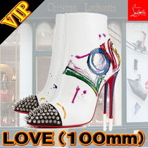 Christian Louboutin Studded Bi-color Leather Pin Heels Elegant Style