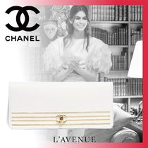 CHANEL Plain Leather Party Style Home Party Ideas Clutches