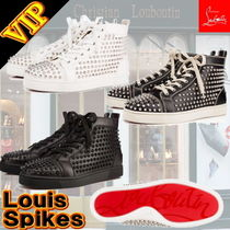 Christian Louboutin LOUIS Unisex Studded Street Style Bi-color Leather Sneakers