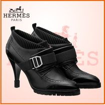 HERMES Plain Toe Rubber Sole Blended Fabrics Plain Leather