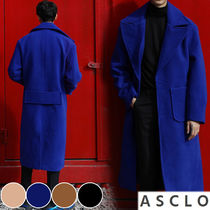 ASCLO Wool Street Style Collaboration Plain Long Chester Coats