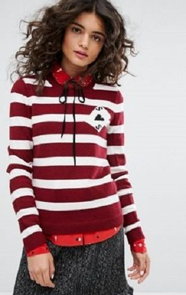 Crew Neck Stripes Casual Style Wool Long Sleeves Medium