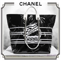 CHANEL A4 2WAY Chain PVC Clothing Elegant Style Totes