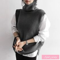 Casual Style Plain Turtlenecks