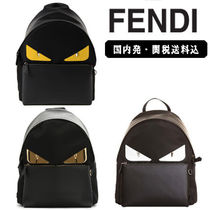 FENDI Street Style A4 Plain Leather Backpacks