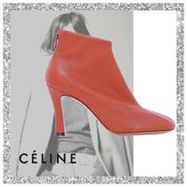 CELINE Plain Leather Ankle & Booties Boots