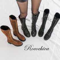 Round Toe Lace-up Casual Style Plain Lace-up Boots