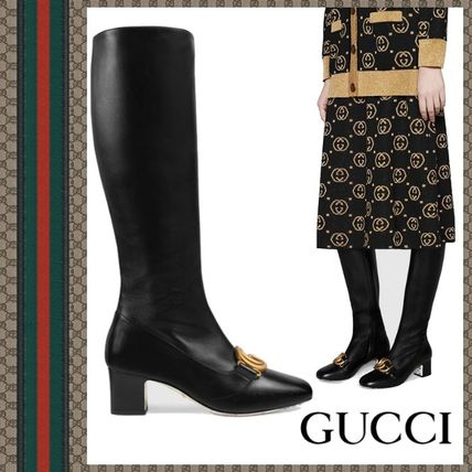 a0ee900cfef ... GUCCI Mid Heel Round Toe Plain Leather Elegant Style Chunky Heels ...