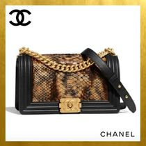 CHANEL BOY CHANEL Plain Leather Handbags