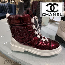 CHANEL Mountain Boots Casual Style Street Style Plain Block Heels