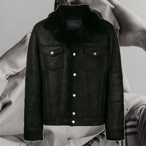DIESEL BLACK GOLD Short Street Style Plain Leather Varsity Jackets