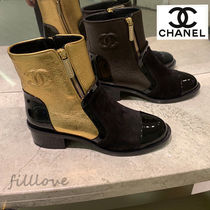 CHANEL Blended Fabrics Street Style Plain Leather Block Heels
