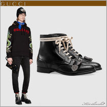 GUCCI Wing Tip Mountain Boots Studded Street Style Plain