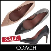Coach Plain Leather Elegant Style Pointed Toe Pumps & Mules
