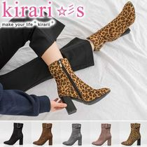 Leopard Patterns Round Toe Casual Style Suede Plain