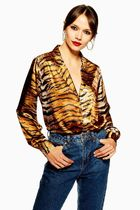TOPSHOP Leopard Patterns Casual Style Street Style V-Neck