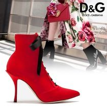 Dolce & Gabbana Plain Leather Pin Heels Elegant Style Ankle & Booties Boots
