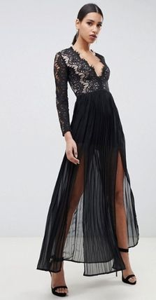 Maxi V-Neck Long Sleeves Long Party Style Lace Dresses