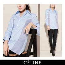 CELINE Stripes Long Sleeves Cotton Shirts & Blouses