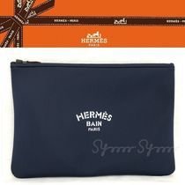 HERMES Unisex Nylon Bag in Bag A4 Plain Logo Clutches