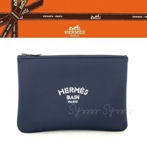 HERMES Unisex Nylon Blended Fabrics Bag in Bag 2WAY Plain Clutches