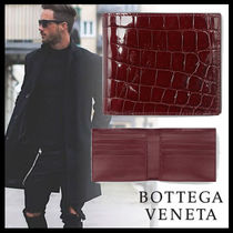 BOTTEGA VENETA Crocodile Plain Folding Wallets