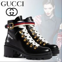 GUCCI Stripes Plain Toe Rubber Sole Casual Style Blended Fabrics