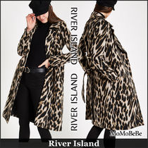 River Island Leopard Patterns Casual Style Fur Long Coats