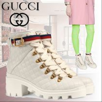 GUCCI Stripes Plain Toe Rubber Sole Blended Fabrics Street Style