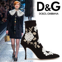 Dolce & Gabbana Flower Patterns Leather Pin Heels Elegant Style