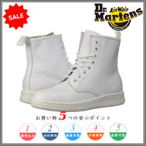 Dr Martens Round Toe Lace-up Casual Style Plain Leather Lace-up Boots