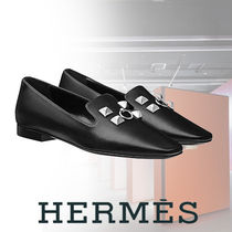 HERMES Blended Fabrics Studded Bi-color Plain Leather With Jewels