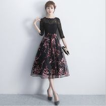 Flower Patterns A-line Cropped Medium Lace Dresses