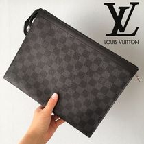 Louis Vuitton DAMIER GRAPHITE Monogram Unisex Bag in Bag 2WAY Leather Clutches