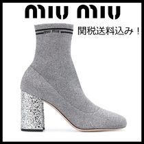MiuMiu Plain Leather Block Heels Elegant Style
