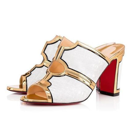 d9309c05cc7 ... Christian Louboutin Heeled Open Toe Bi-color Plain Leather Block Heels  Elegant Style 6